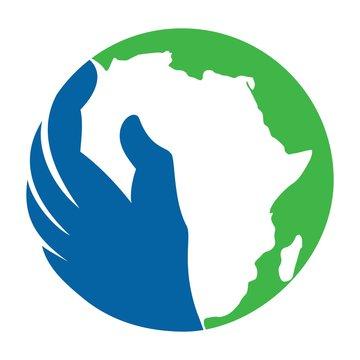 africa logo vector. hand of help symbol.