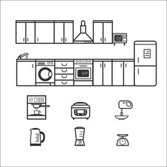 Kitchen interior with furniture and household appliances