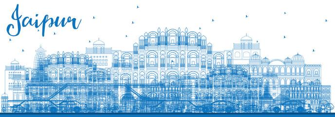 Outline Jaipur Skyline with Blue Landmarks.
