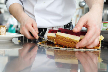 chef prepare dessert, pastry  in the restaurant