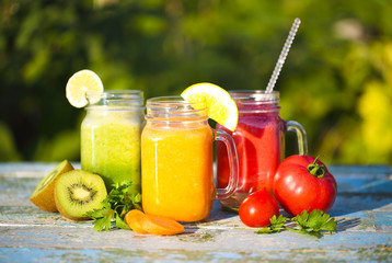 Three glasses of vegetable and fruit juice