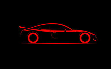 stylized silhouette sports car coupe