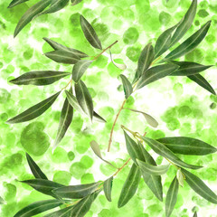 Seamless pattern with olive tree branches on green