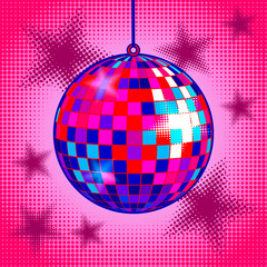 Disco ball comic book style vector illustration