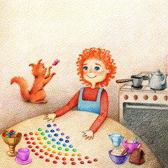 hands drawn picture of little boy standing at the table, preparing candies and red cat plays with butterfly on a kitchen by the color pencils