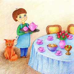 hands drawn picture of little boy holds a tray with tea standing near table and red cat on a dining room by the color pencils