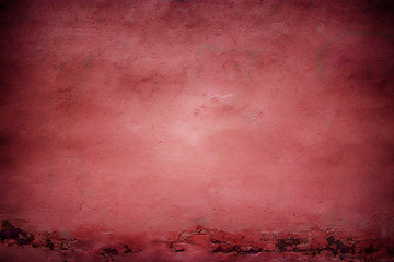 Red wall texture, color plaster surface, abstract background