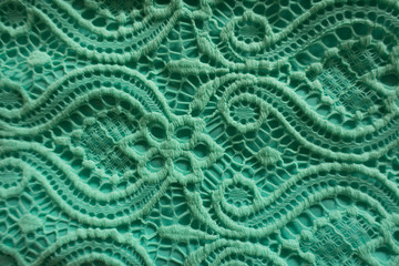 Close-up of mint lace fabric
