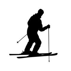 skiing man. Black on white
