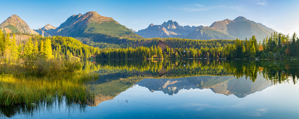 Panorama of high resolution mountain lake Strbske Pleso in Slovakia