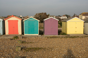 Beach Huts at Ferring, Sussex, England