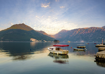 Sunrise over the Kotor Bay near Perast, Montenegro