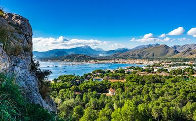 Beautiful view of the bay Port de Pollenca, Spain Majorca coastline landscape Mediterranean Sea Balearic Islands