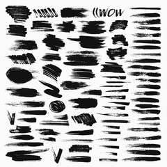 Grunge hand drawn brush stroke vector set.
