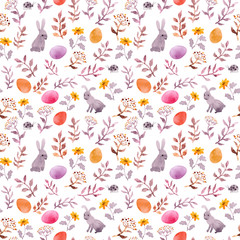 Easter bunny, colored eggs in grass and flowers. Seamless floral easter background. Watercolor