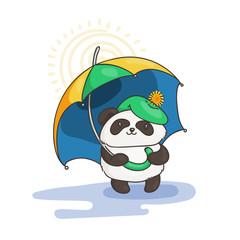 Cute panda with an umbrella. Wildlife, ecology, peace and friendship.