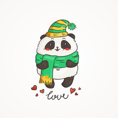 Cute panda in scarf and hat. Wildlife, ecology, peace and friendship.