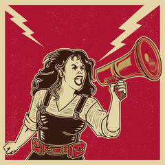 Vintage propaganda poster and elements. Retro Clip art of a feminist voice against power. Isolated artwork object. Suitable for and any print media need.