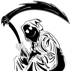 Grim Reaper. Illustration. ink sketch hand drawn