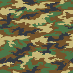 Camouflage seamless pattern in green and beige colors. Vector illustration