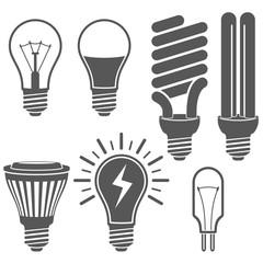 Black and white light bulb icons vector set.