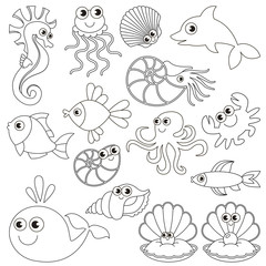 Sea underwater animals set, the big page to be colored, simple education game for kids.