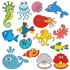 Sea underwater animals set, the collection of coloring book template, the group of outline digital elements.