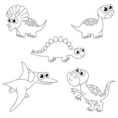 Colorless tremendous dinosaurus dino set, the big page to be colored, simple education game for kids.