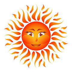 Orange sun on white background vector
