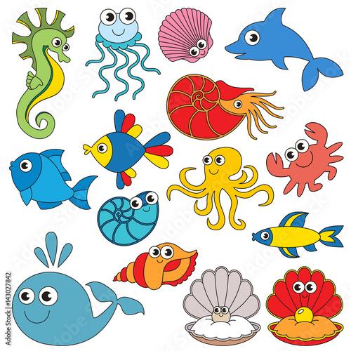 Sea underwater animals set the collection of coloring - Clip art animali marini ...