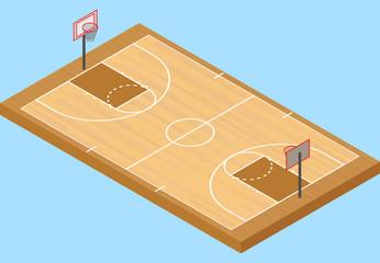 Isometric basketball court, with floor and basketball hoop