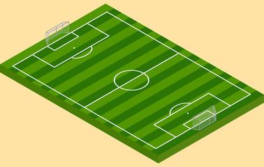 Isometric football green grass field with goalposts