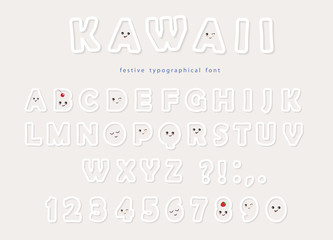 Paper cut out kawaii font with funny smiling faces. For birthday greeting cards, party invitation, kids design.