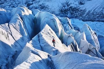 Printed kitchen splashbacks Glaciers Man walking on Vatnajökull, Vatna Glacier in iceland
