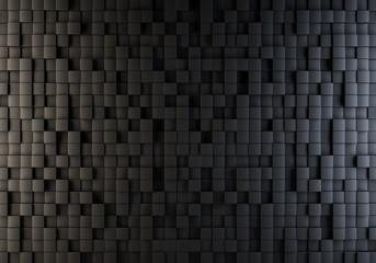 Black cubes randomly pushed out background.