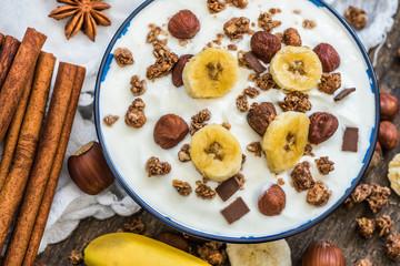 Yogurt with Muesli, Banana and Nuts