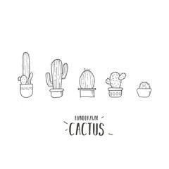Cute cartoon cactus. Cacti in pots.