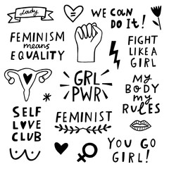 Vector feminism symbols icon set. Femenist movement