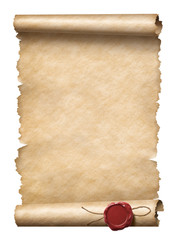 Old scroll or letter with wax seal isolated 3d illustration