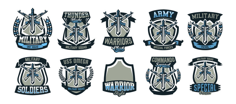 Collection of logos, emblems, military weapons, machine guns. Vector illustration, printing on T-shirts