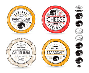Set of template labels for cheese and design elements