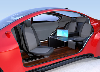 Self driving car interior concept. A laptop computer on the foldable table . 3D rendering image.