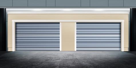 closed garage with metal door