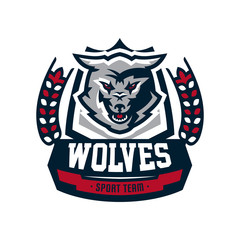 Emblem, logo, sticker, aggressive wolf ready to attack, predator. Vector illustration
