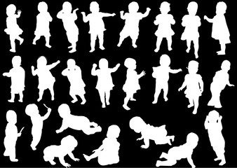 twenty four child silhouettes collection isolated on black