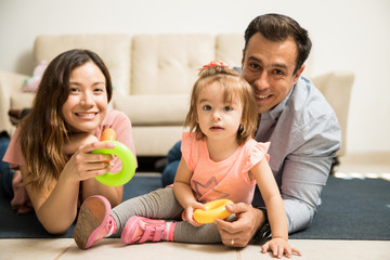 Young family having time together