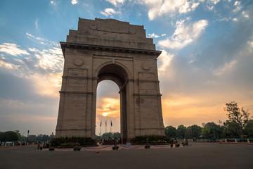 India Gate Delhi - A war memorial on Rajpath road at sunrise.