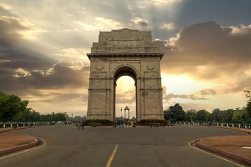 Historic India Gate Delhi - A war memorial on Rajpath road New Delhi at sunrise.