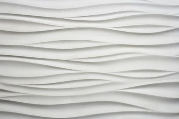 Abstract background: white wavy texture. Decorative wall decoration