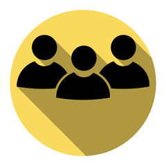 Team work sign. Vector. Flat black icon with flat shadow on royal yellow circle with white background. Isolated.